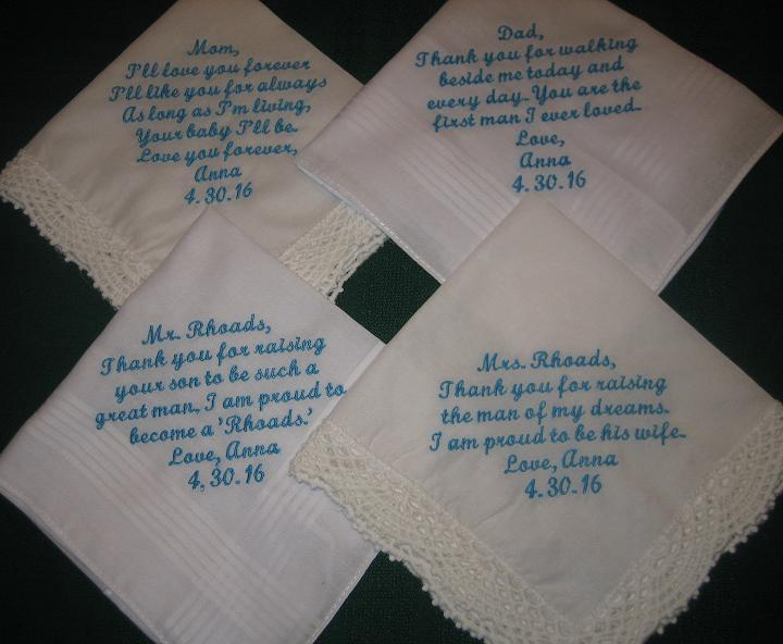 Mariage - Embroidered Wedding Handkerchiefs for parents of Bride and Groom 205S Set of 4 hankies