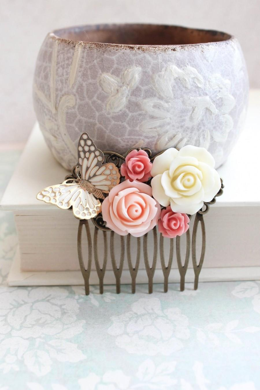 Свадьба - Bridal Hair Comb Romantic Gold Wedding Hair Accessories Butterfly Floral Collage Comb Country Chic Blush Pink Rose Quartz Bridesmaids Gift