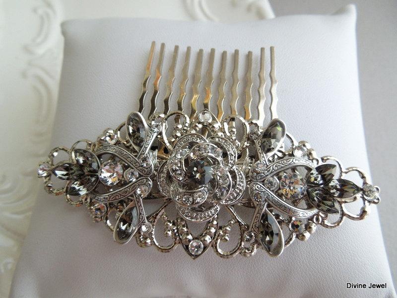 Wedding - Gray Hair Comb,Bridal Hair Comb,Bridal Accesory,Head Piece,Statement Hair Comb,Bridal Rhinestone Hair Comb,Crystal Hair Comb,Grey,ROSELANI