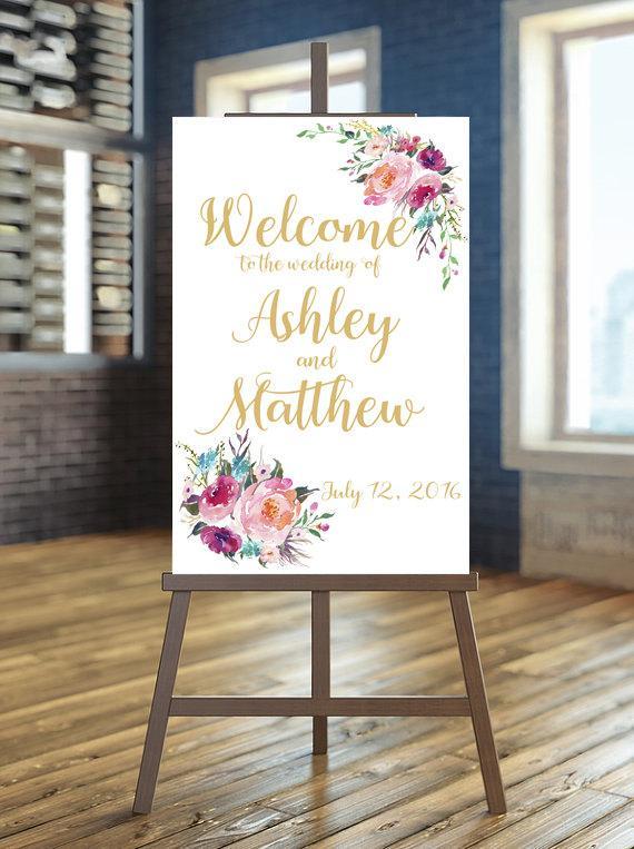 Hochzeit - Printable Wedding Sign, Welcome Wedding Sign, Floral Wedding Sign, Customized Sign, Gold Wedding Sign, Bohemian Wedding Sign, Custom sign
