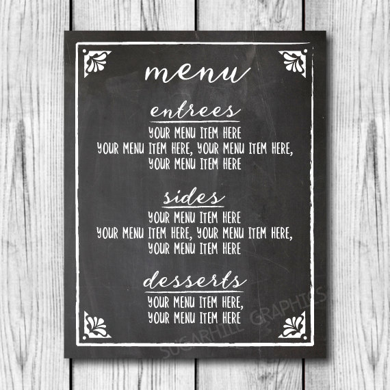 Custom wedding dinner menu sign chalkboard wedding sign for Another word for food decoration