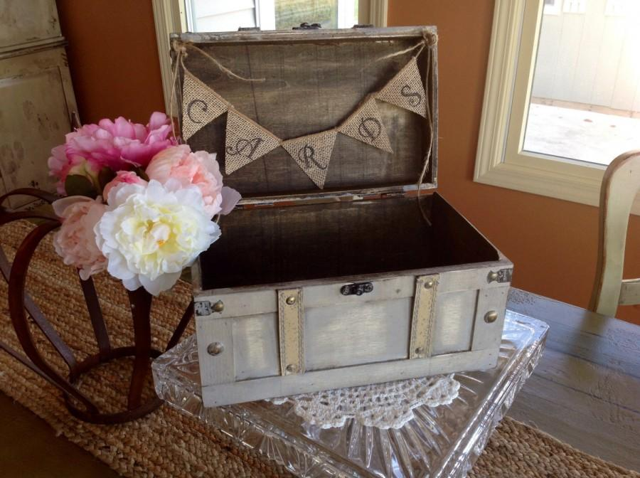 Mariage - Rustic Wedding Card Box, Burlap Banner, Personalized.