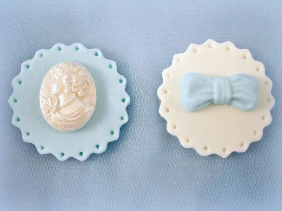 Hochzeit - 12 Wedding Cupcake Fondant Edible Toppers, Cameo Sugar Bow, Anniversary Engagement Cupcake, Baby Bridal Shower Topper, Blue Party Decor