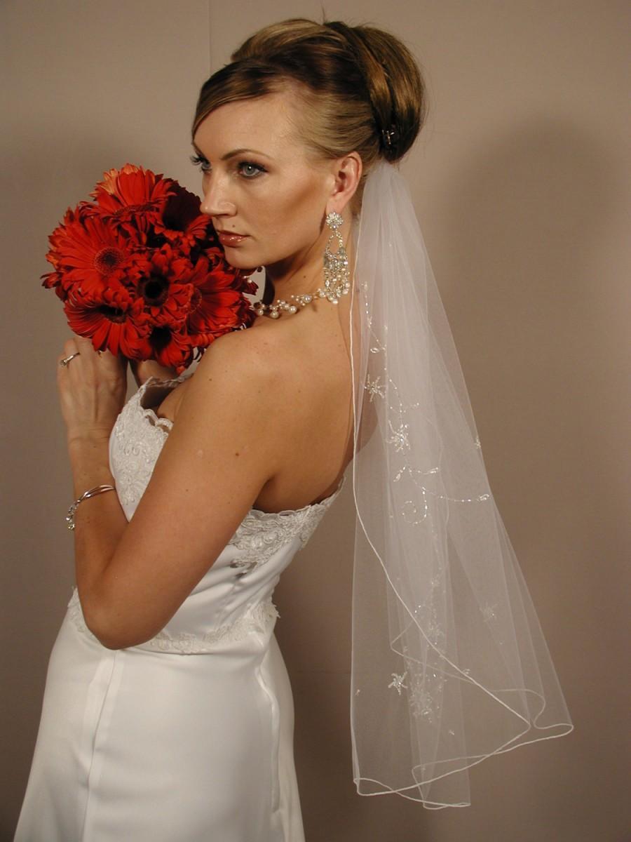 Wedding - hand beaded wedding veil - hand embroidered wedding veil - WV135s