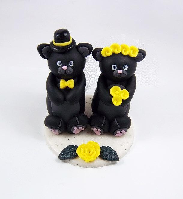 زفاف - Cats Cake Topper, Custom Cake Topper, Personalized Wedding Cake Topper, Black Cat, Halloween Wedding