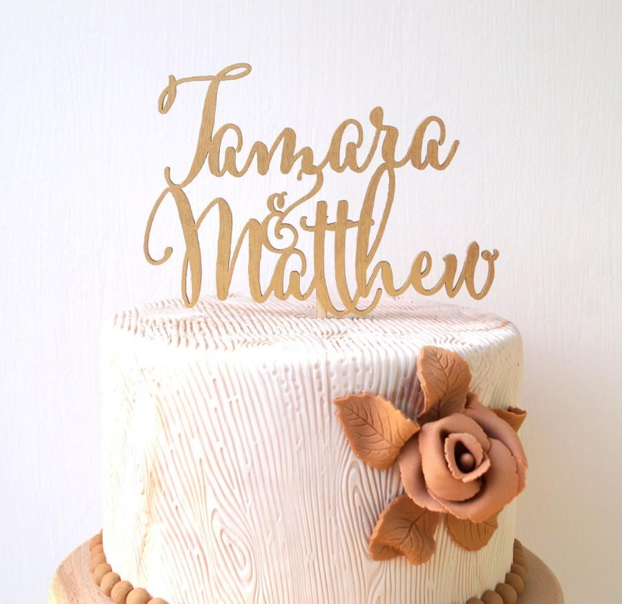Mariage - Personalized wedding cake topper, custom cake topper, rustic wedding cake topper, names cake topper