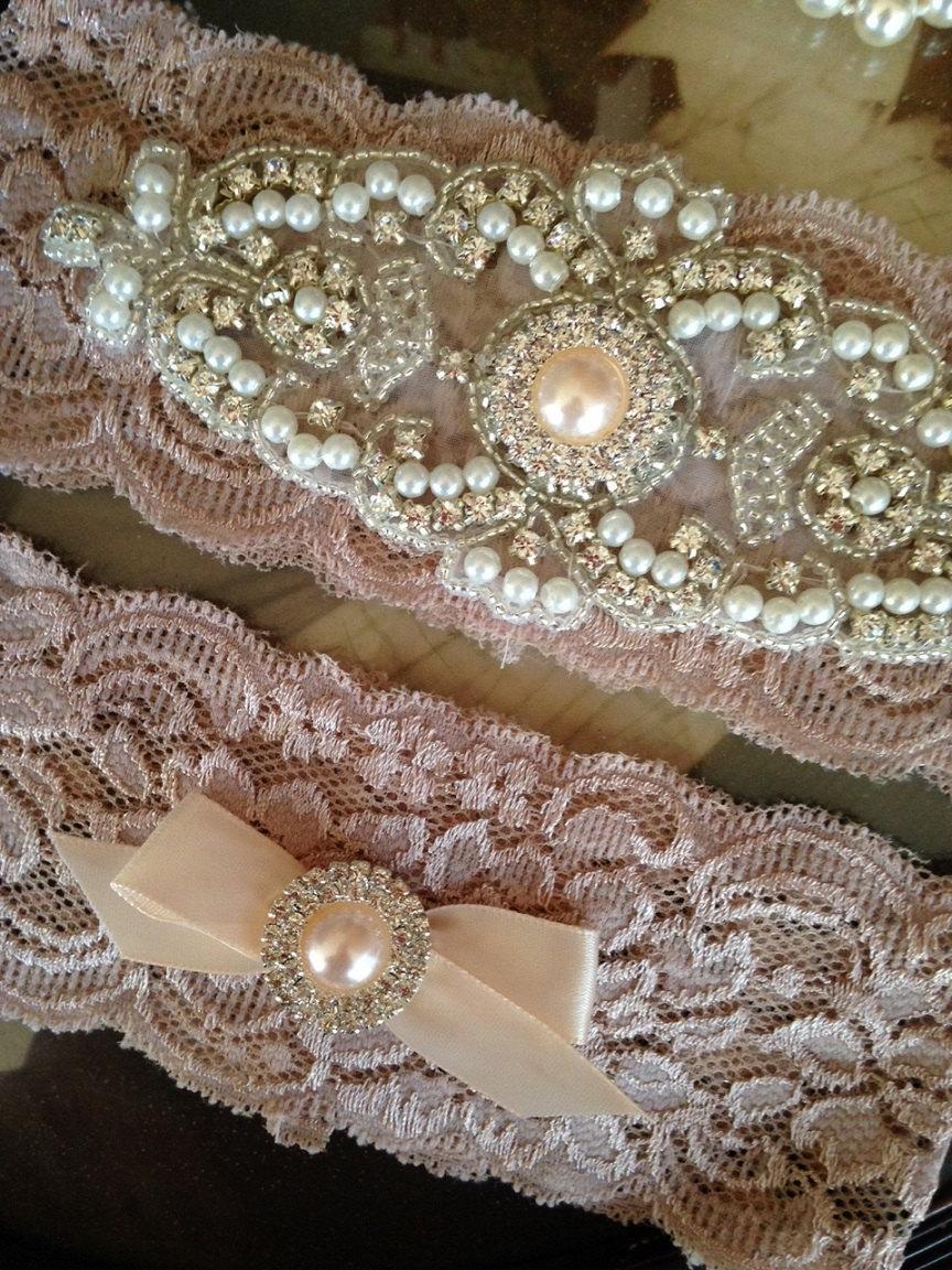 Hochzeit - Wedding Garter-Garter-Garters-Champagne-Rhinestone Garter-Blush-champagne garter-blush garter-lace-bridal garter-accessories-pearl-vintage
