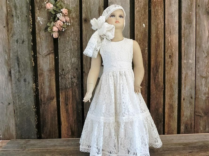 Mariage - Ivory lace flower girl dress, rustic flower girl dress,lace flower girl dress, boho flower girl dress,girls lace dress,wedding dress