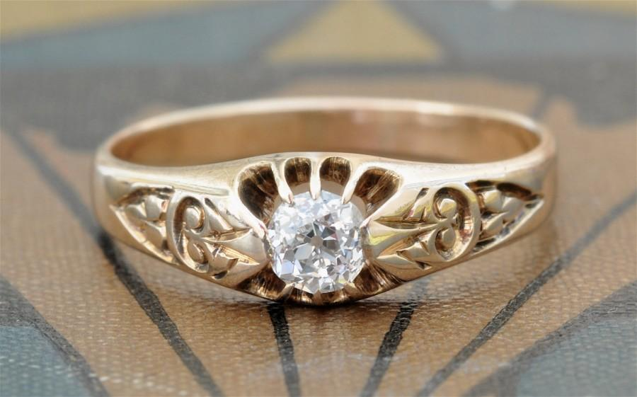 Victorian Engagement Ring-Old Mine Cut Diamond Engagement ...