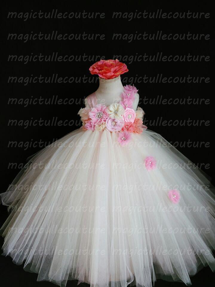 fc7942ca4df Ivory pink peach coral Flower Girl Dress Tulle Dress Wedding Dress Birthday  Dress Toddler Tutu Dress 1t 2t 3t 4t 5t Morden Wedding