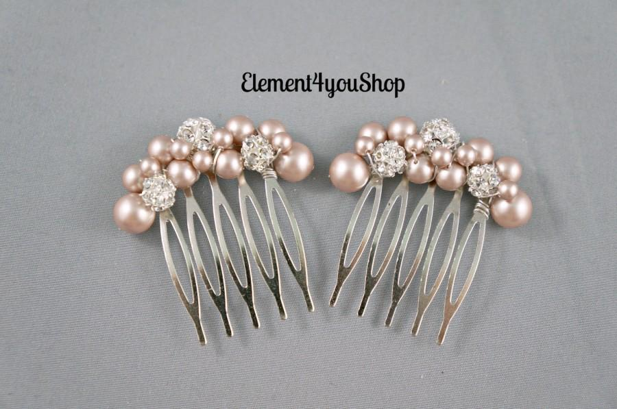 Wedding - Bridal small hair combs set of 2 light champagne pearls Rhinestones ball Flower girl bridesmaid Maid of honor hair do prom Wedding accessory