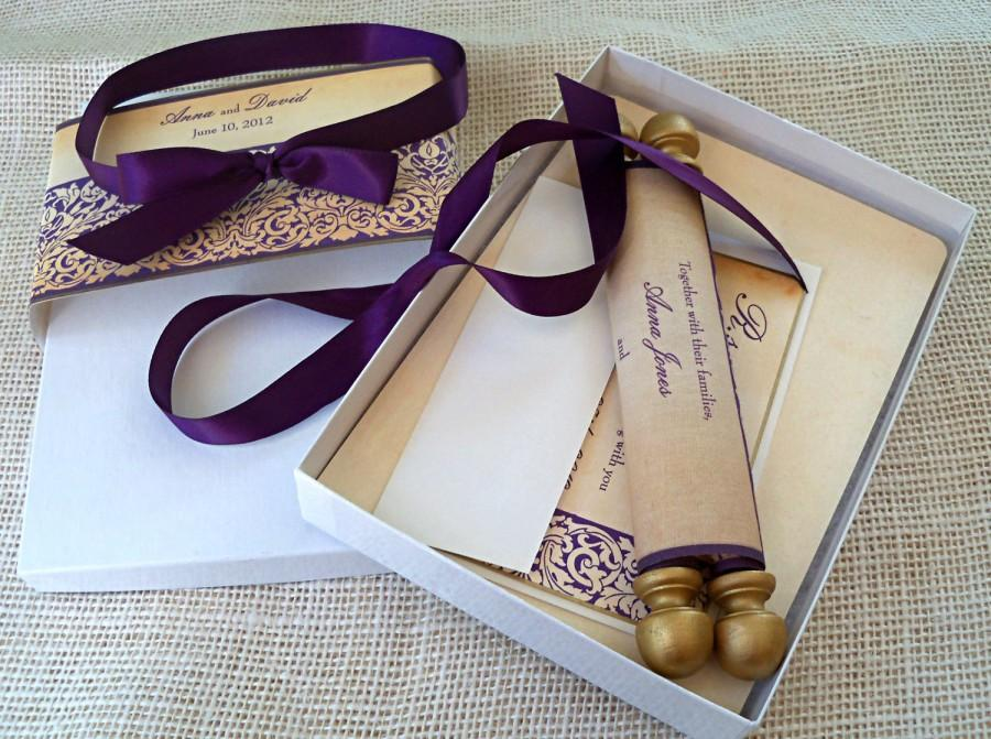 elegant wedding invitation suite boxed fabric scrolls gold and eggplant damask gold wedding invitation medieval castle wedding 60 - Medieval Wedding Invitations