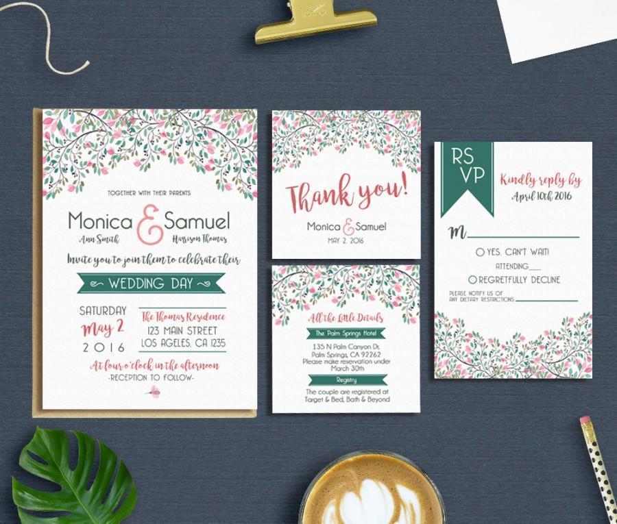 Hochzeit - Spring Wedding Invitation, Wedding Invitation Suite, Floral Wedding Invitation Printable, Printable Wedding Invitation, Wedding Invitation