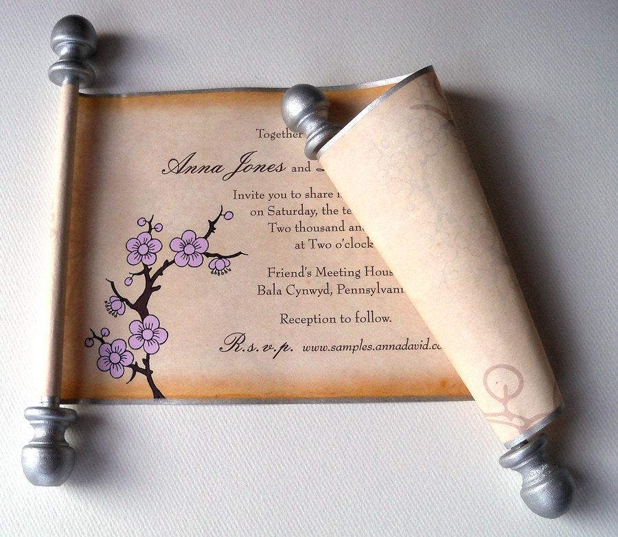 Rustic Wedding Invitations, Wedding Scroll, Cherry Blossom ...