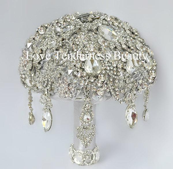 Свадьба - SALE! Silver Wedding Bouquet, Gray Wedding Brooch Bouquet, Great Gatsby, Jewelry Bouquet, Wedding Decor, rhinestone bouquet, Crystal bouquet