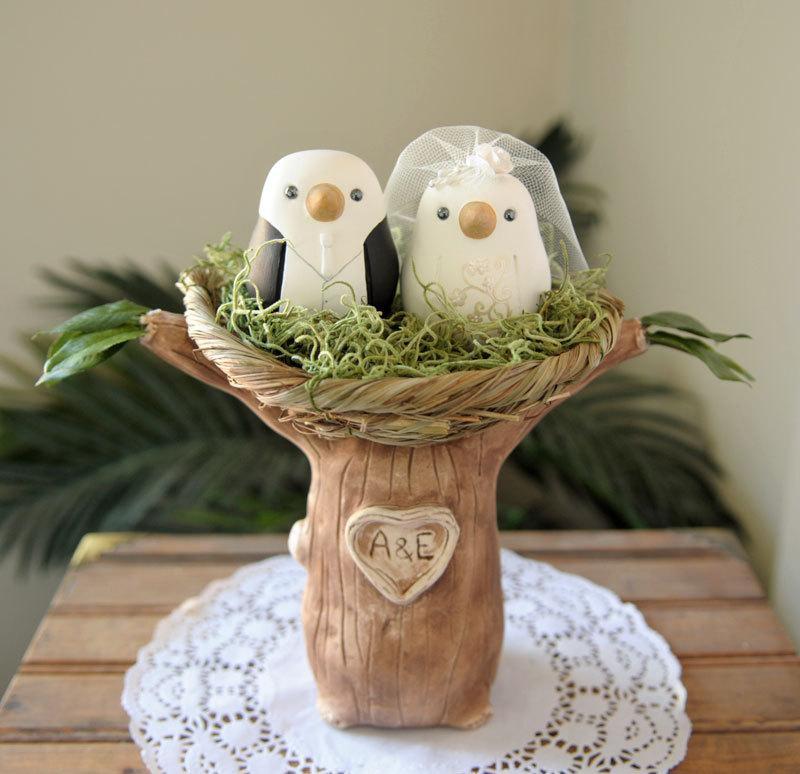 Hochzeit - Custom Wedding Cake Topper - Love Birds Tree with Nest - Hand Sculpted