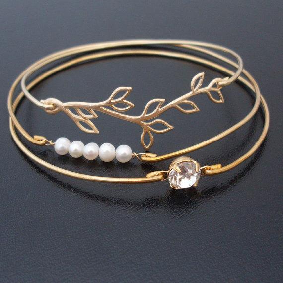 Mariage - Pearl Bridesmaid Jewelry Set, Pearl Bridesmaid Bracelet, Pearl Wedding Jewelry, Bridesmaid Pearl Jewelry Set, Bridesmaid Pearl Bracelet