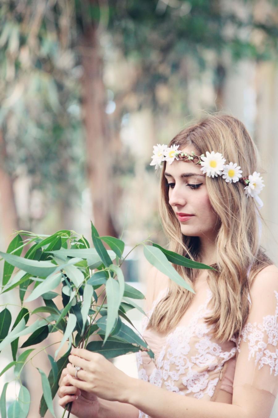 Daisy Wedding Flower Bridal Hair Accessory White Hair Wreath Silk