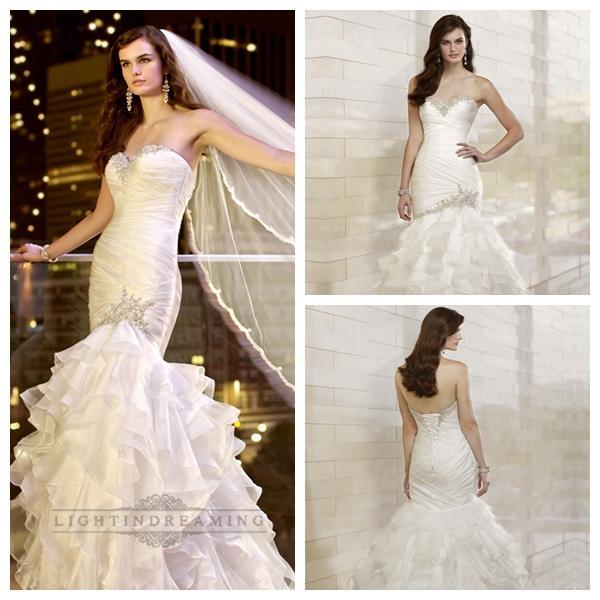 Trumpet mermaid beaded sweetheart dreaped bodice wedding for Trumpet skirt wedding dress