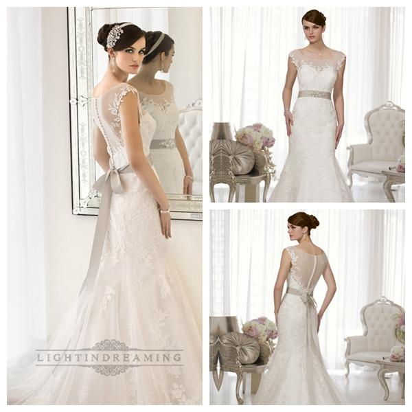 Cap Sleeves Fit And Flare Illusion Boat Neckline Back Wedding Dress 25