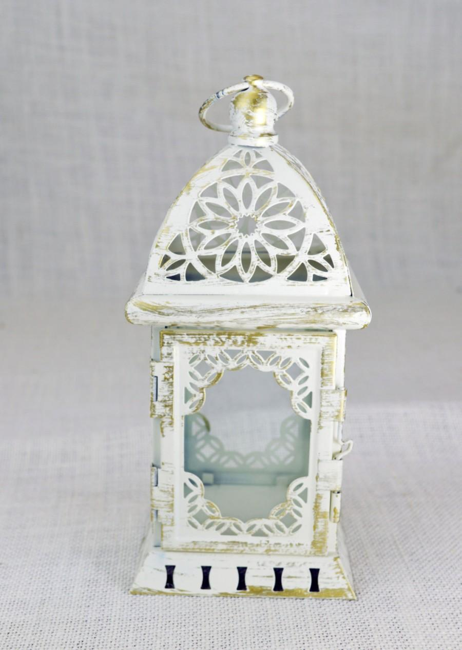 No L004 Wedding Lantern Centerpiece Vintage Antique White Gold