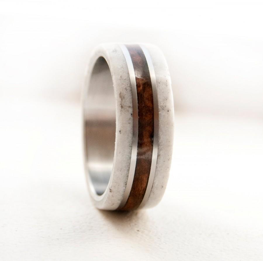 زفاف - Mens Wedding Band Wood and Antler Wedding Ring