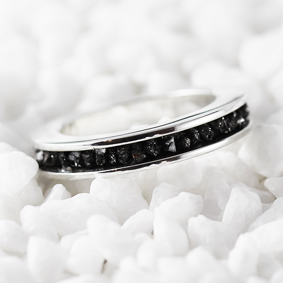 Hochzeit - Black Diamond Ring 14k White Gold Wedding Band for Men and Women Personalized Engravings