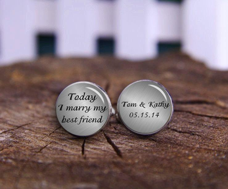 Mariage - today i marry my best friend, custom name and date, personalized wedding cufflinks, Groom Cufflinks, Wedding Cuff Links, Wedding Keepsake