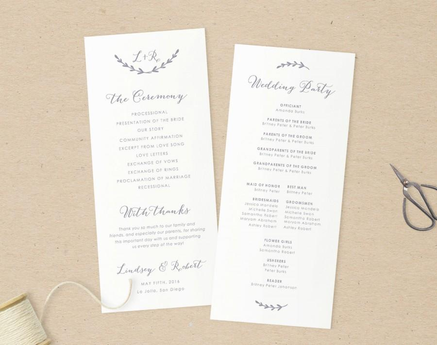 Wedding Programs Template,Printable Programs, Instant Download ...
