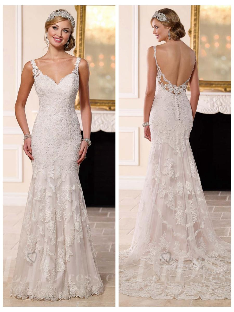Low Back Wedding Dress Fit And Flare : Lace straps fit and flare sweetheart wedding dress with