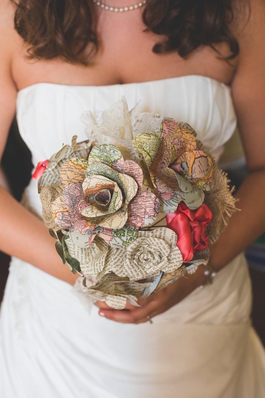 Свадьба - Mixed media & paper flower bridal bouquet