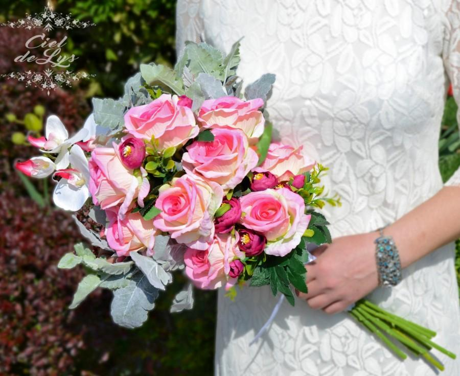 Boda - Felice Wedding Bouquet by Ciel De Lys Pageant Pink Roses Orchids Peonies Silk Flowers Wedding Flowers Bridal Bouquet