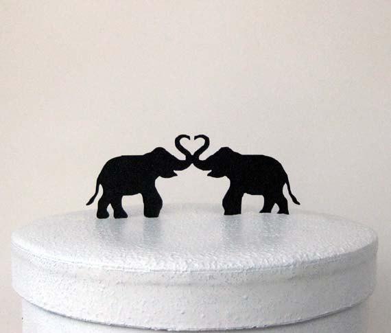 Свадьба - Wedding Cake Topper - Two Elephants, Elephant Wedding Cake topper