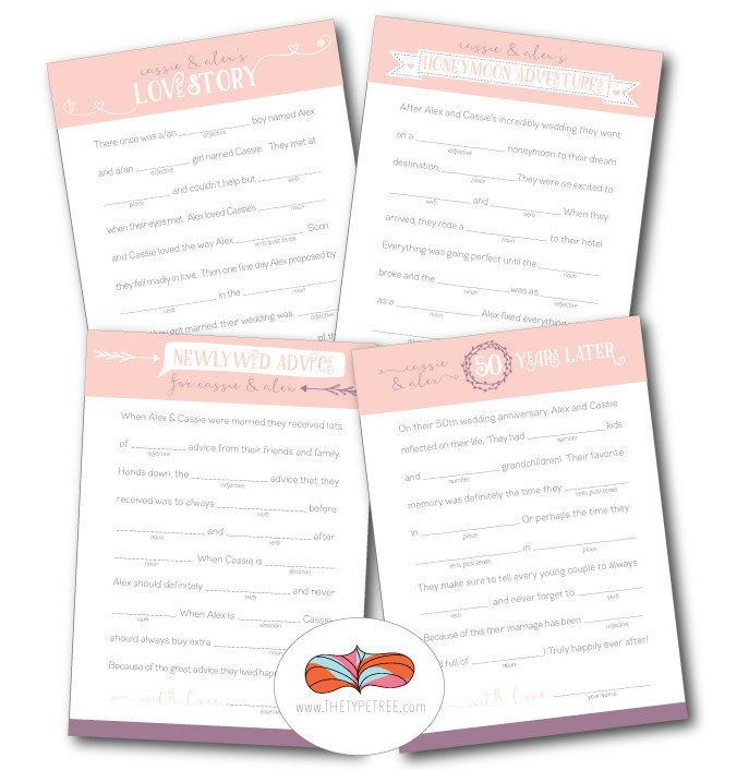 Wedding - Wedding Mad Libs - Set of 4 Unique Stories with key for back