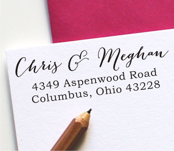 Calligraphy Address Stamp Self Inking Stamp Custom