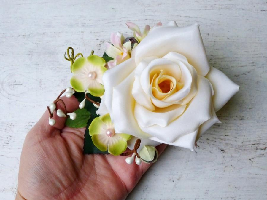 Mariage - Wedding hair flower, Bridal headpiece, Ivory flower, Floral hair clip, Ivory hair piece, Bridal flower hair clip