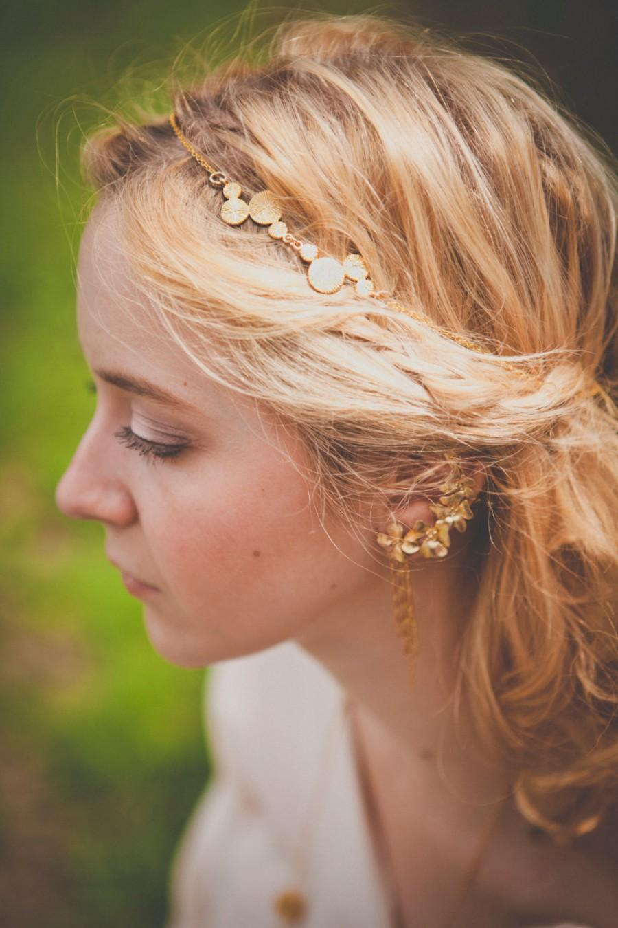 Свадьба - Cassiope Headpiece - Gold plated 18k chain bridal headband - art nouveau 20s gatsby boho crown tudor victorian reign tiara - MADE TO MEASURE