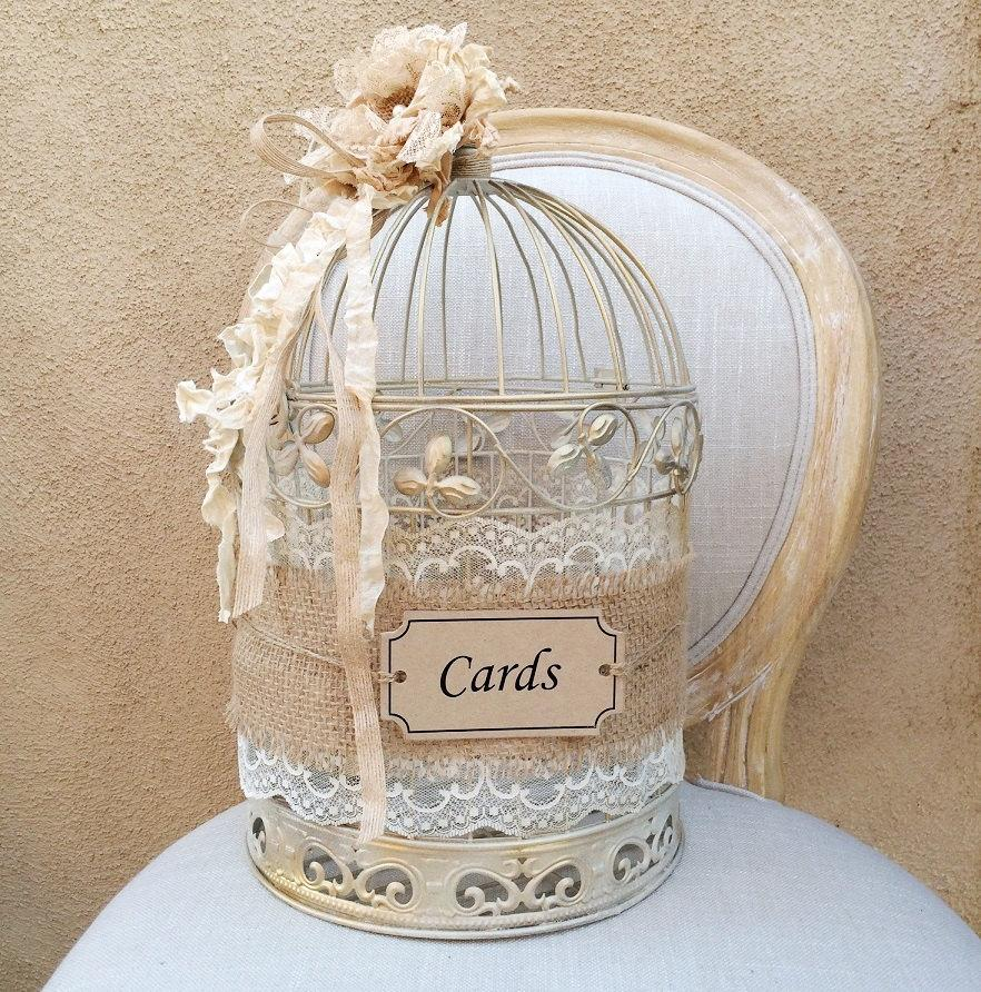 Birdcage Wedding Card Holder: Birdcage Card Holder, Shabby Chic Birdcage, Wedding Gift