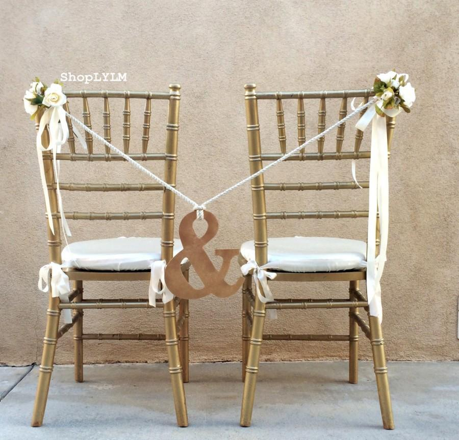 Свадьба - Ampersand Chair, Ampersand Sign, Wedding Sign, And Sign, Chair Flowers, Mr and Mrs, Chair Decor, Chair Garland, Bridal Chair, Rope Tie