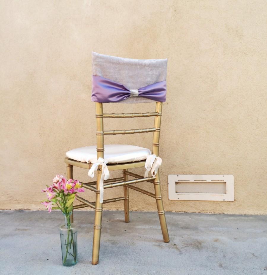 Bridal Chair Cover, Velvet Chair Cover, Elegant Chair Cover, Lavender Chair  Cover, Lavender Wedding, Crystal Bow, Chair Cover, Wedding Decor