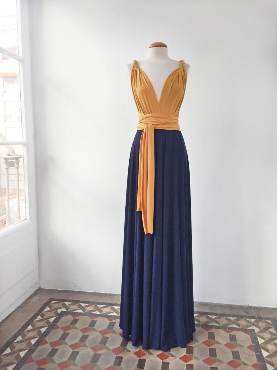 Mustard long dress mustard and navy long dress bridesmaids mustard long dress mustard and navy long dress bridesmaids dresses navy blue dress convertible evening gown choose your colors wedding ombrellifo Choice Image
