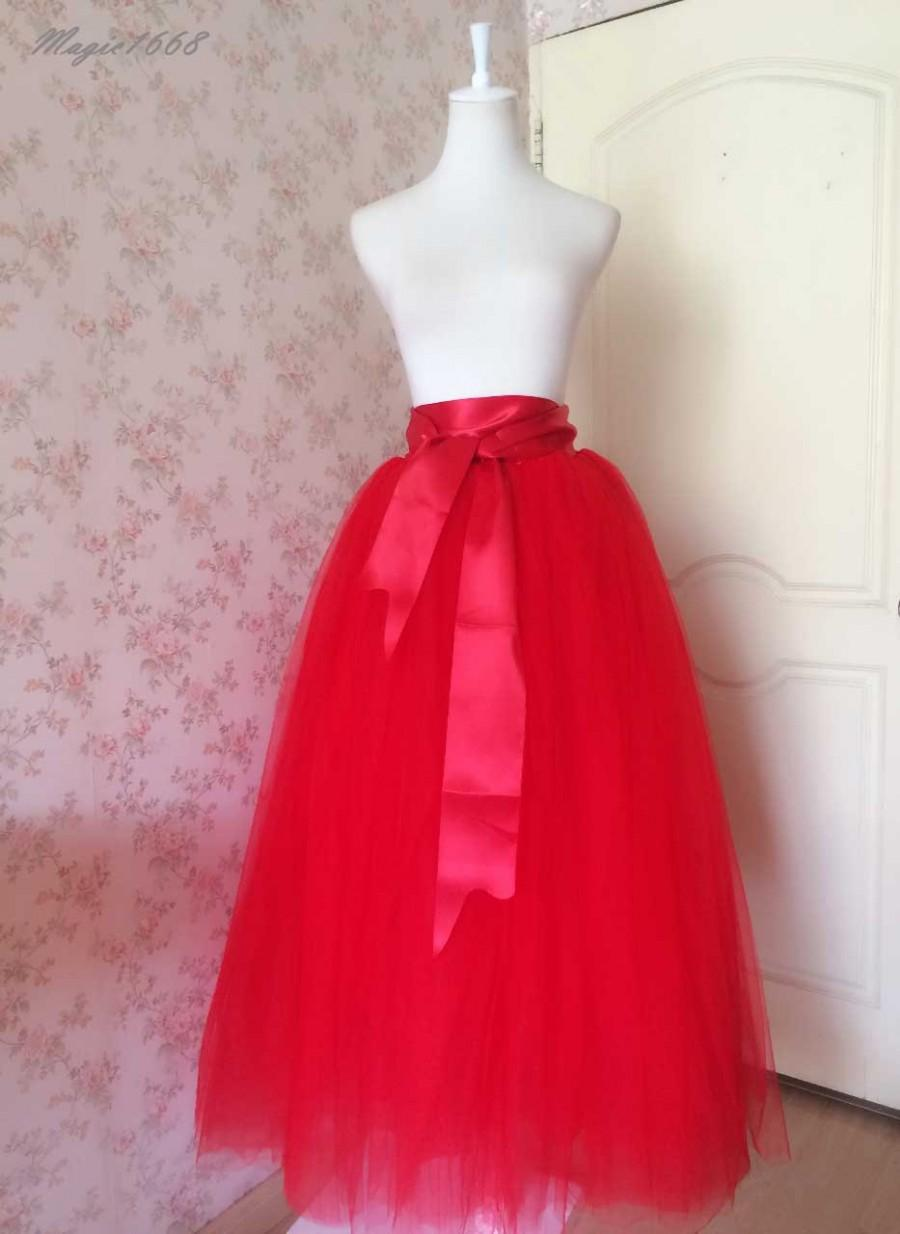 Hochzeit - 2016 Red Tulle Skirt Full Long Tulle Skirt. Chic Bridal Tutu Skirt. Costumes. Bride Skirt. Full Red Skirt. Petticoat Red Wedding(T2818)