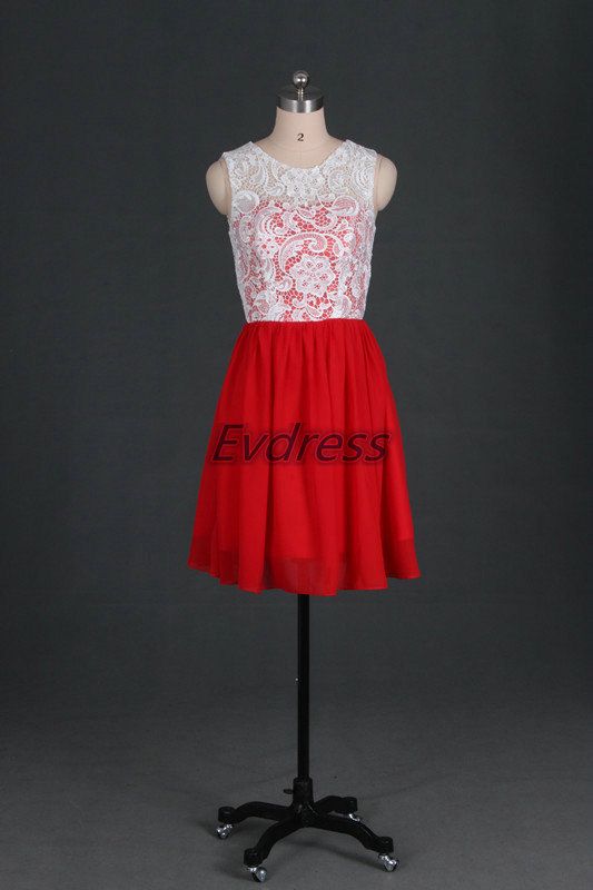 Boda - Red chiffon ivory lace bridesmaid dresses,cheap short bridesmaid gowns under 100,cute women gowns for prom party.