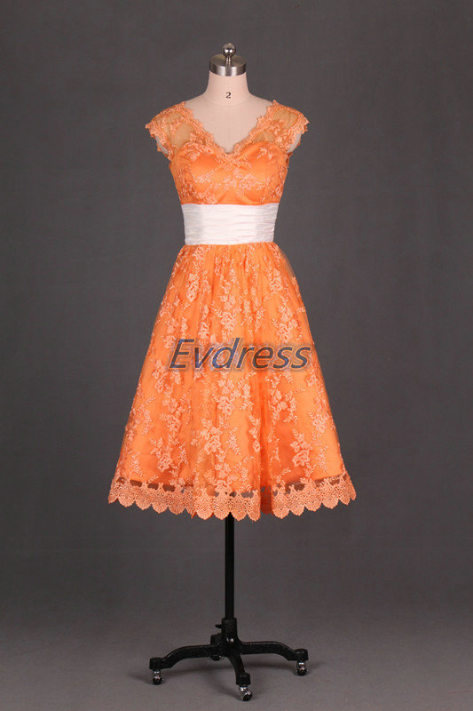 Wedding - Short orange bridesmaid dress lace, cheap v-neck bridesmaid gowns, custom made prom dresses, 2016 simple gowns for wedding party.