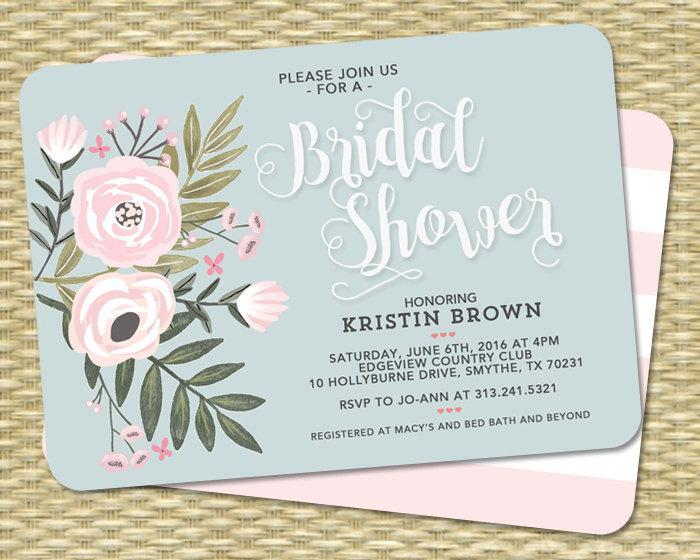 Wedding - Bridal Shower Invitation Bridal Shower Invite Floral Bridal Shower Flowers Blush Pink Blue Wedding Shower ANY EVENT