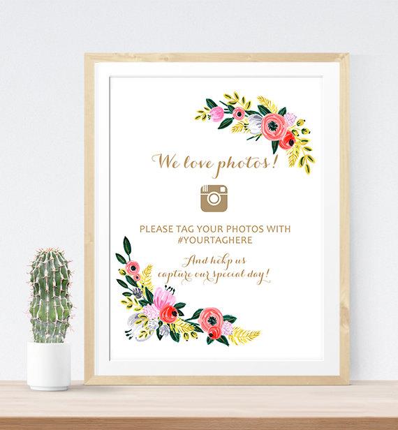 Hochzeit - Wedding instagram sign, Hashtag Wedding Sign, Wedding instagram Printable, Instagram sign poster, Instagram wedding printable, DIY