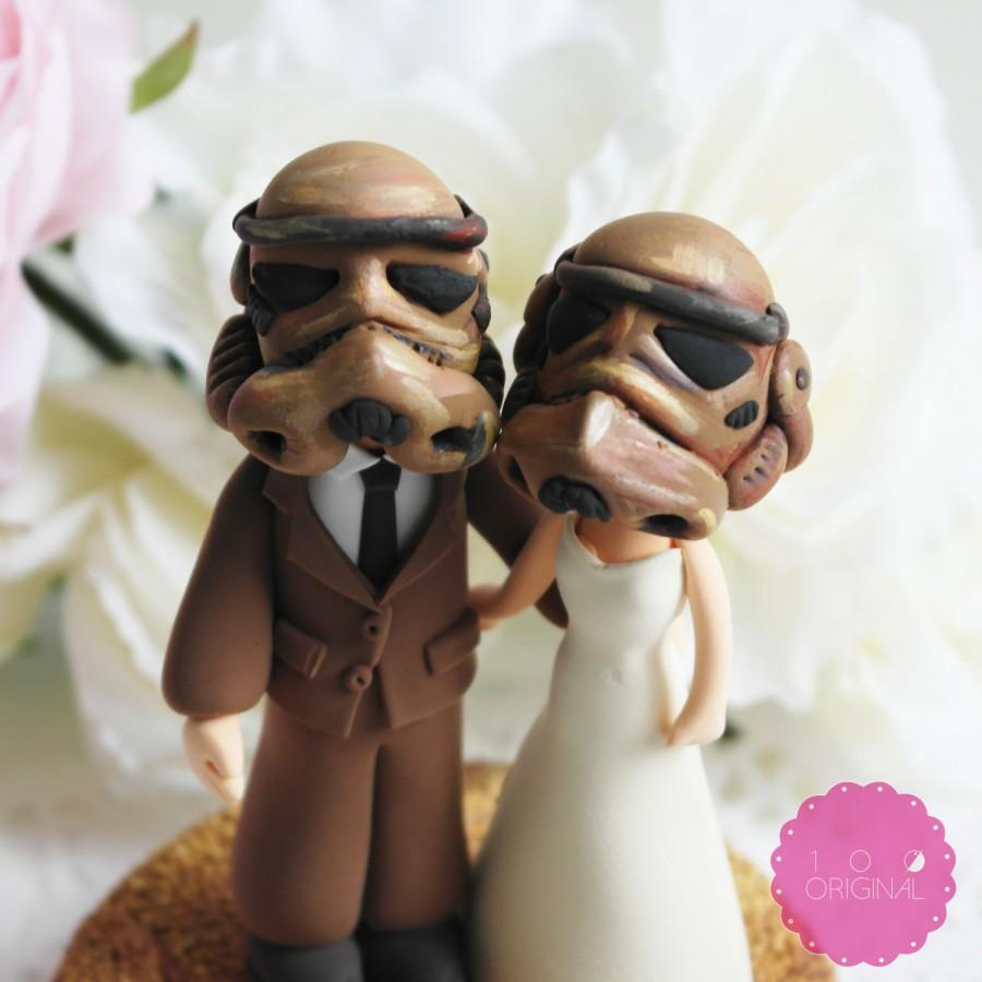 Hochzeit - Custom Cake Topper - Star troopers couple