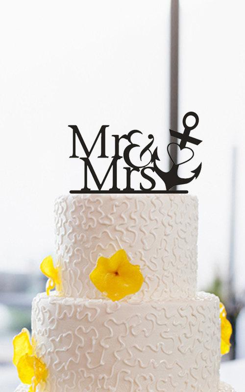 زفاف - Mr and Mrs Cake Topper-Nautical Cake Topper-Wedding Cake Topper With Anchor-Personalized Cake Topper-Acrylic Cake Topper-Unique Cake Topper