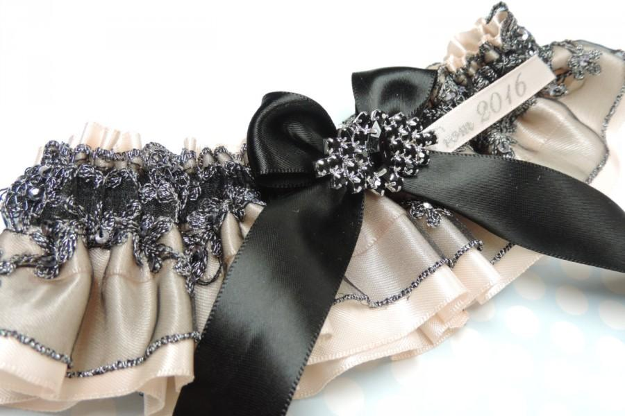 Wedding - Black and nude prom garter, prom garters, beaded prom garter