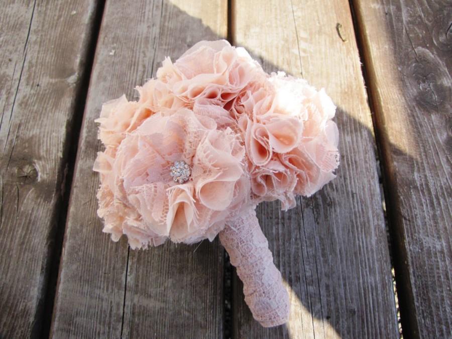 Hochzeit - Bride bouquet wedding bouquet fabric bouquet fabric flower marriage bridal bouquet lace bouquet pink bouquet rustic bouquet